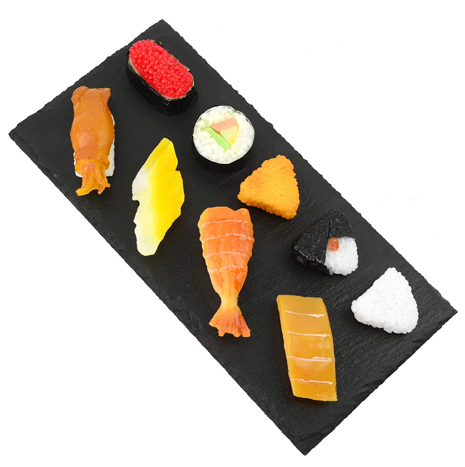 Skyseen 9Pcs Artificial Sushi Fake Food Simulation Realistic Lifelike Salmon Dessert for Decoration Display Toy Props Model Sashimi