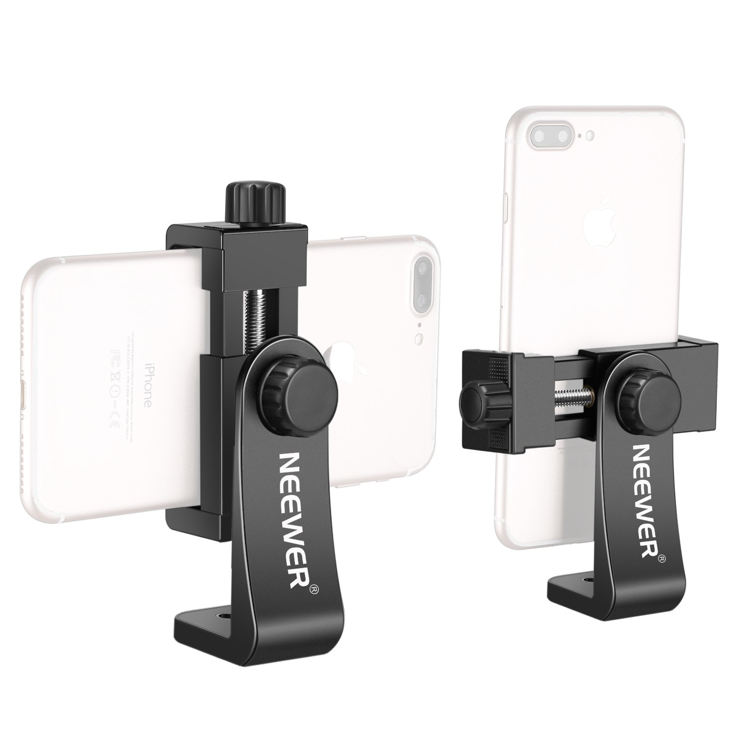 Neewer Smartphone Holder Vertical Bracket With 1/4 Inch Tripod Mount   Phone Clip Tripod Adapter For I Phone X 8 7 Plus 7 6 Plus, Samsung S8 S7 S6 And Other Phones Within 1.9 3.9 Inches Width (Black) by Neewer