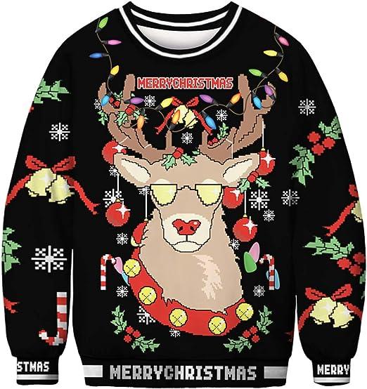 TALLA XL. FLYCHEN Sudadera de Navidad Mujer Sin Capucha Impreso Funny 3D Christmas Colorido Divertido Sudaderas Cuello Redondo Azar Ugly