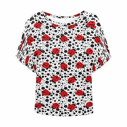 INTERESTPRINT Women's O-Neck Batwing Blouse Shirt Loose T Shirts Ladybug XL