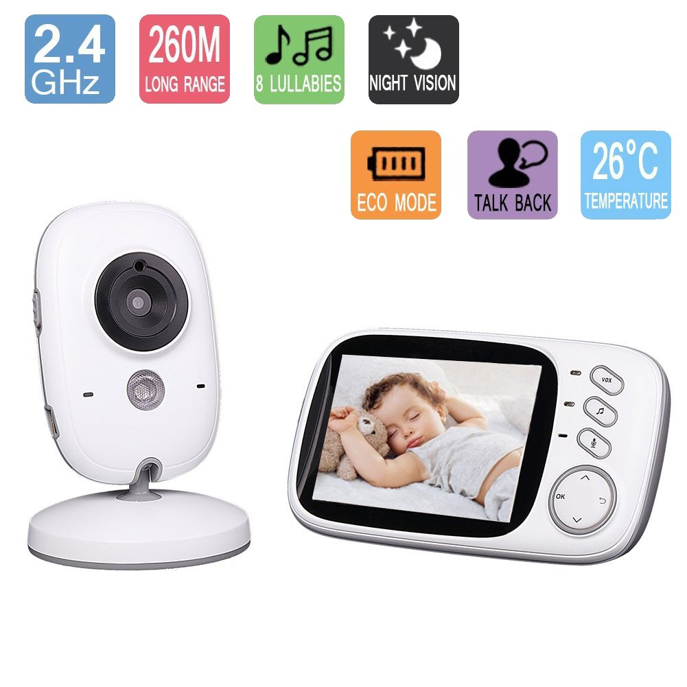 Baby Monitor with Camera Wireless Videophone for Infant IR LCD Video 3.2 Inch Color LCD Screen Wireless Live Camera with Night Vision Temp Sensor Temperature Monitoring Talk-Back Two Way Audio (Temperature Sensor, Built-in 8 Lullaby, Night Vision, Intercom