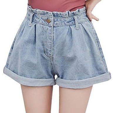 58f6c7554923 Scothen Damen Jeans Bermuda-Shorts Bequeme Kurze Hose Tiefem  Schritt Stretch Jeans-