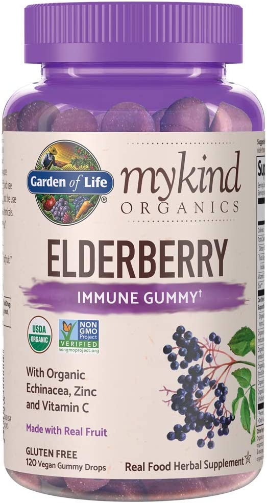 Garden of Life mykind Organics Elderberry Plant Based Immune Gummy - 120 Real Fruit Gummies for Kids & Adults - Echinacea, Zinc & Vitamin C, No Added Sugar Herbal Supplements: Health & Personal Care