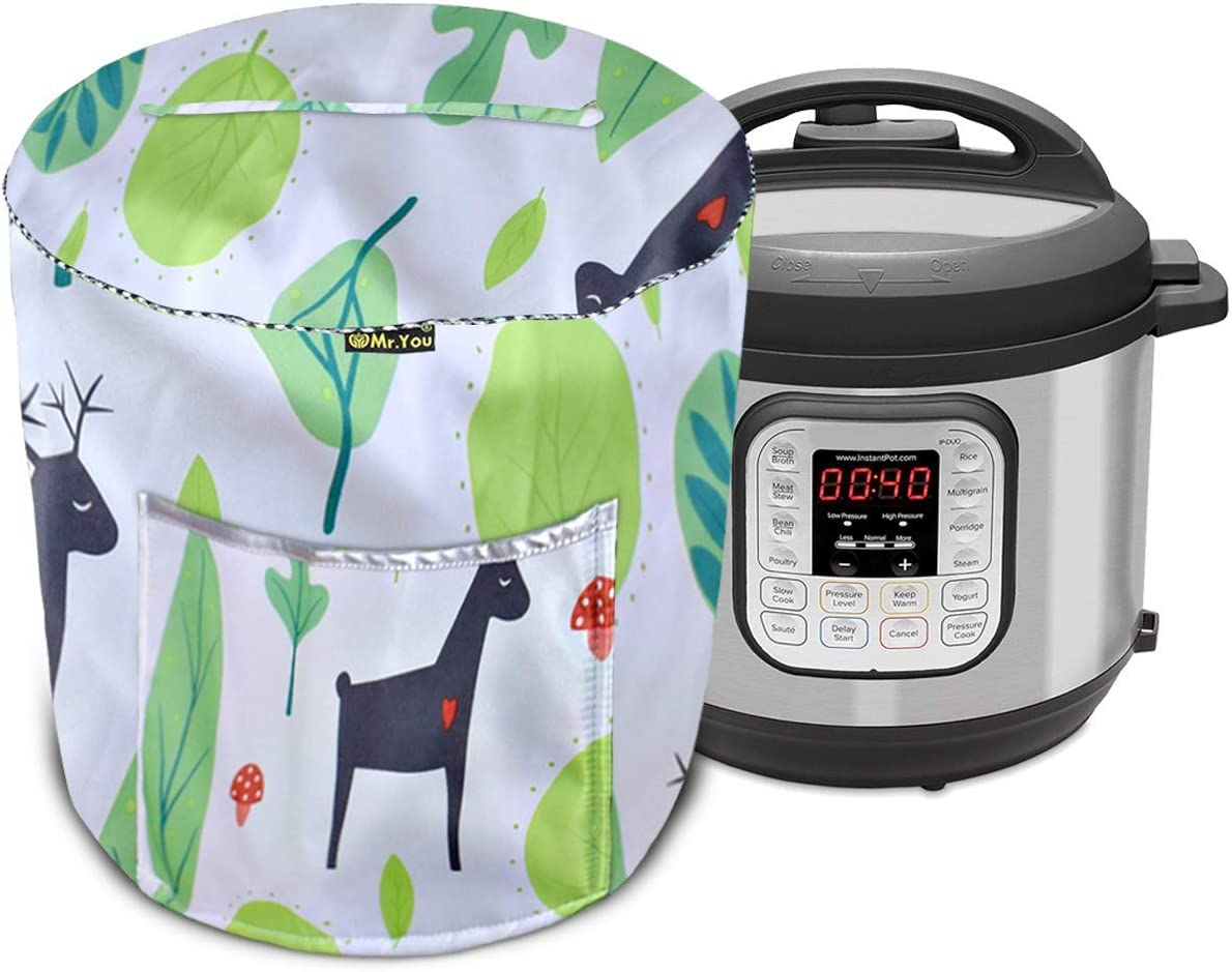 Rice Cooker Cover,Pressure Cooker Cover Pot and Electric Pressure Cooker,Appliance Cover with Pocket(Green,4-6Qt)