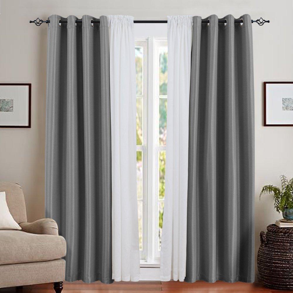 Amazon.com: jinchan Faux Silk Satin Blackout Curtains for Living ...