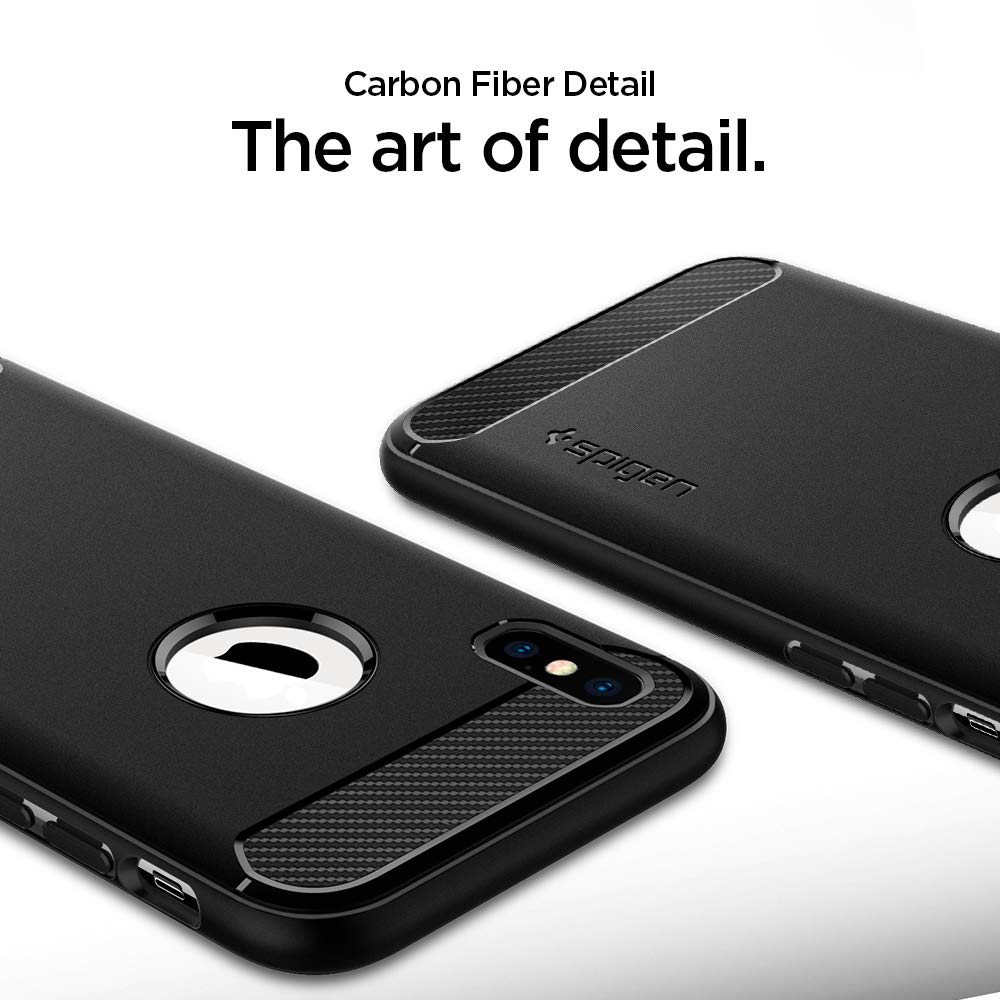 Spigen Rugged Armor Designed For Apple Iphone Xs Case Xr Carbon Fiber Softcase Casing 2018 X 2017 Matte Black Cell Phones Accessories