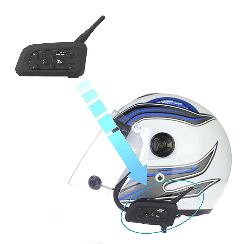 Motorcycle Intercom Bluetooth Helmet Headset V6 1200 Meter Full Duplex Real-Time Motorbike Wireless Headphone 6 Riders Communicator Talk for Skiing Motorbike Camping 1 Pack