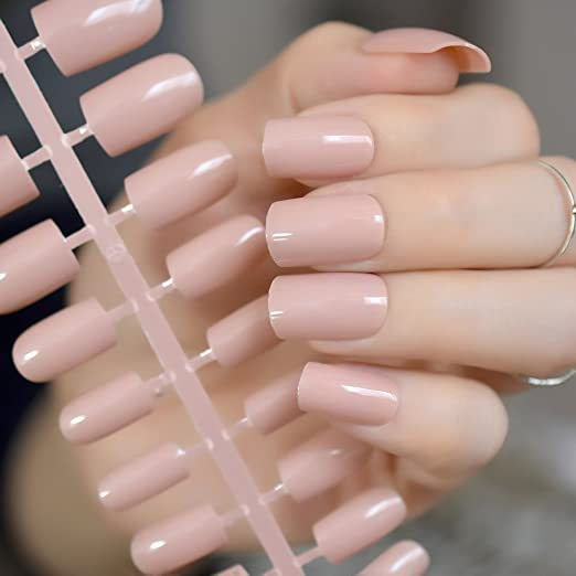 Amazon.com: CoolNail Nude Fake Nails Faux Ongles UV Effect False Nails Full Cover Medium Square Press on Artificial Nail Art Manicure Accessories: Beauty