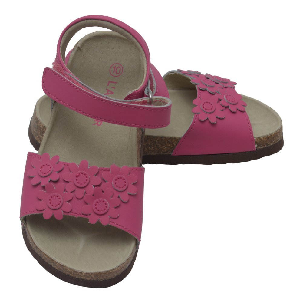 LAmour Girls Fuchsia Flower Accent Velcro Strap Cork Sandals 7-10 Toddler