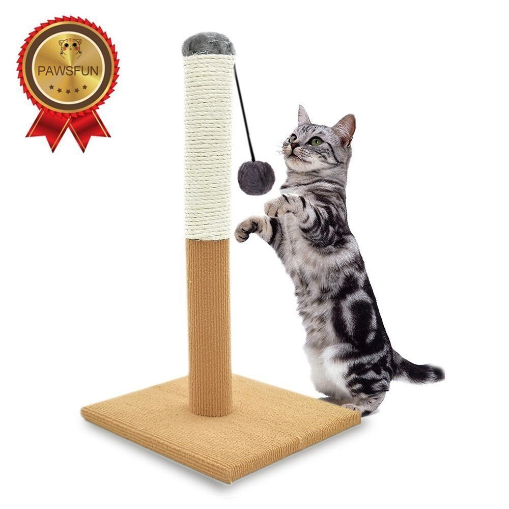 Cat Scratching Post 2-in-1 Sisal with Hanging Interactive Cat Toy for Small Medium Large Cats