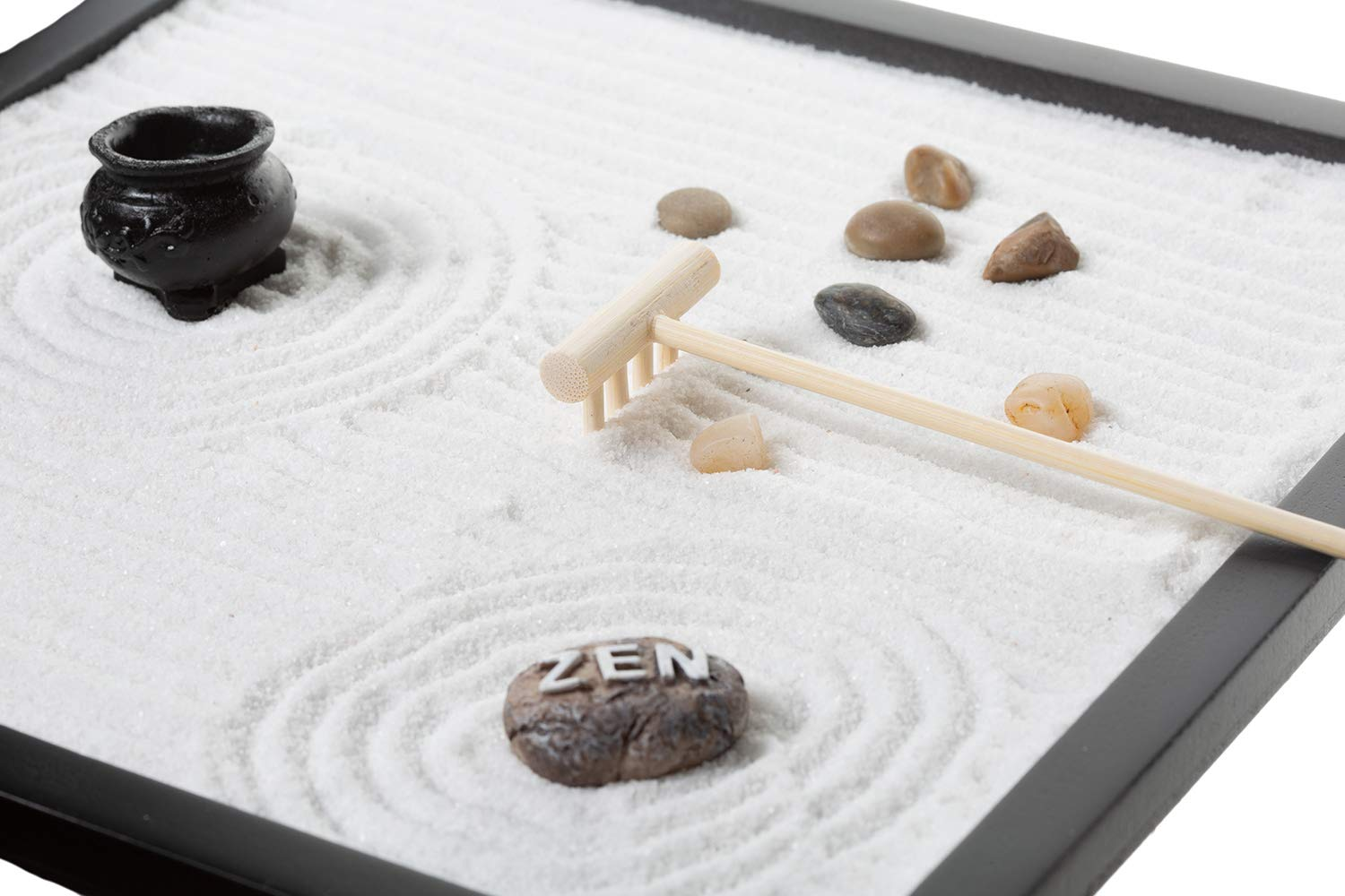 Tabletop Sand Zen Garden with Rocks and rake for Your Desk from Tatum & Shea by Tatum & Shea (Image #3)