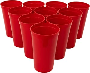 CSBD Stadium 22 oz. Plastic Cups, 10 Pack, Blank Reusable Drink Tumblers for Parties, Events, Marketing, Weddings, DIY Projects or BBQ Picnics, No BPA (Red)