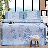 Simonshop Folding Non-Slip Summer Cooling Sleeping Mat Set Peony Floral Embroidery Pad Rattan Mattress Queen King Size (queen, Style 3)