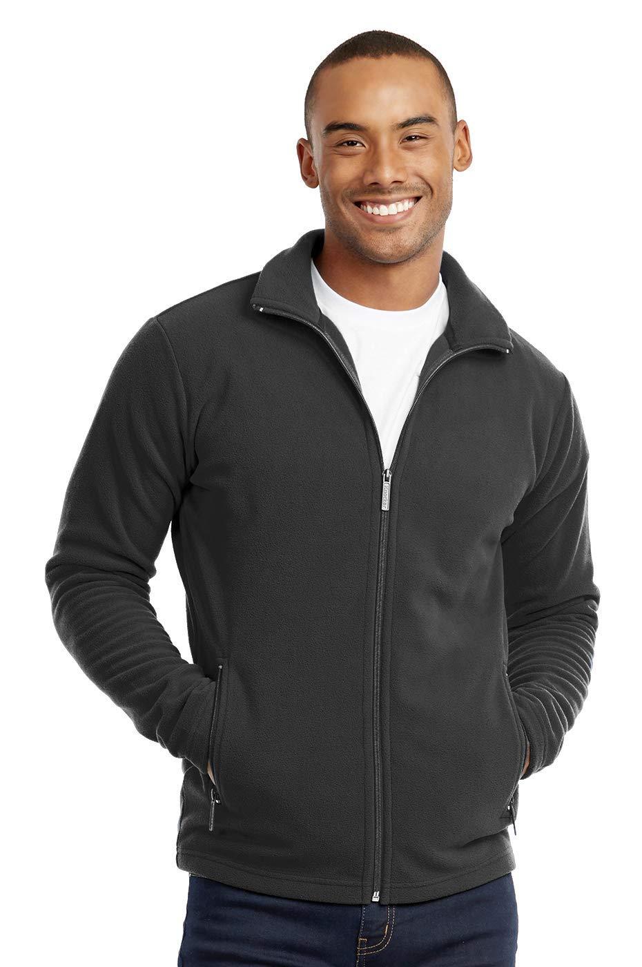Men's Polar Fleece Zip Up Jacket (M, Charcoal) by Knocker