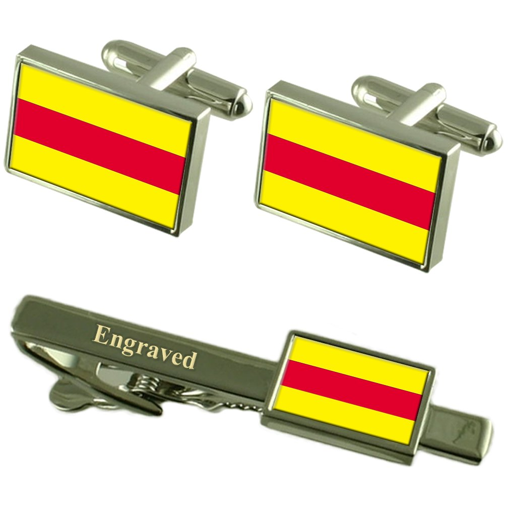 Pasaje City Ecuador Flag Cufflinks Engraved Tie Clip Set