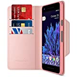 Google Pixel 2 Wallet Case, Maxboost [Folio Style] Premium Google Pixel 2 Card Cases STAND Feature [Rose Gold] Protective PU Leather Flip Cover with Card Slot + Side Pocket Magnetic for Pixel 2 (2017)