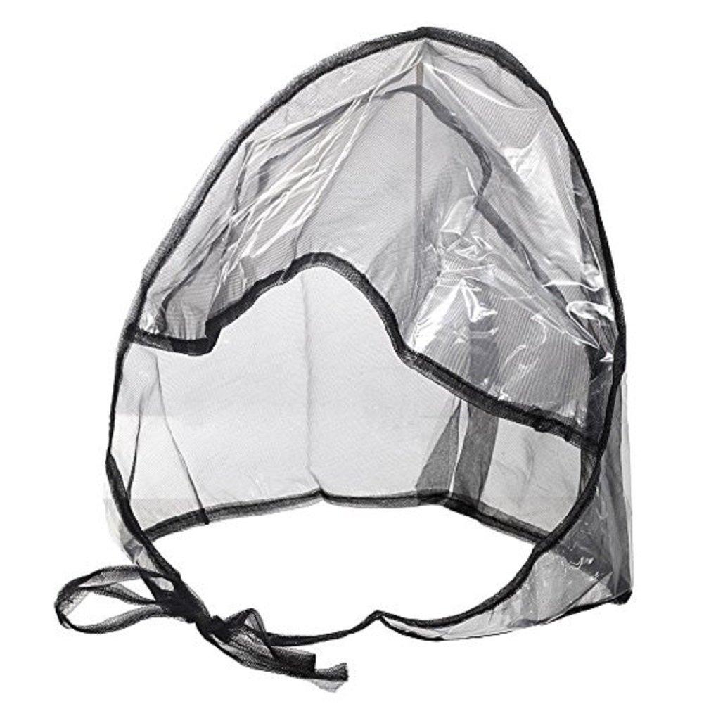 Rain Bonnet With Full Cut Visor & Netting - Black (48)