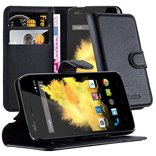 Cadorabo Book Case Works with WIKO Sunset in Oxid Black - with Magnetic Closure, Stand Function and Card Slot - Wallet Etui Cover Pouch PU Leather Flip