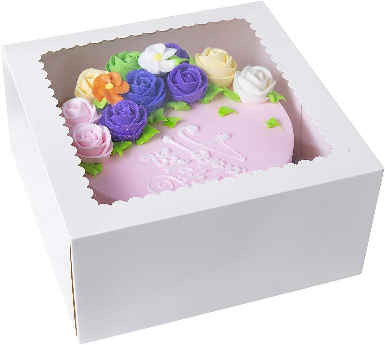 15 cajas de pastel de panadería blancas, 10 x 10 x 5 pulgadas, caja grande de cartón Kraft para panadería con ventana emergente automática (paquete de 15): Amazon.es: Hogar