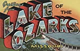 Greetings from Lake of the Ozarks, Missouri (Dam) (12x18 Collectible Art Print, Wall Decor Travel Poster)