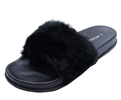 c61edd3c977e2 HeelzSoHigh Ladies Black Dunlop Fur Slip-On Sliders Comfy Flat Mules  Sandals Shoes Sizes 3-8  Amazon.co.uk  Shoes   Bags