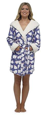 Ladies Coral Fleece Polar Bear Robe 18ccb6b95