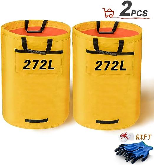 OMIYA Bolsas de basura plegables para jardín, 2 unidades, grandes, impermeables, con asas y un par de guantes para limpieza de hojas de césped de jardín (272LYellow): Amazon.es: Jardín