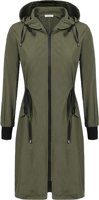 SALE Rain Coat Womens Windbreaker Jacket Waterproof Hood Lightweight Raincoat
