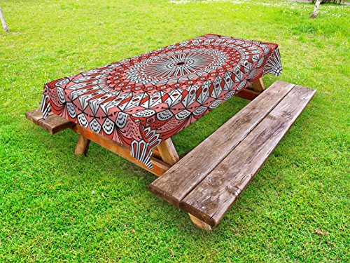 Lunarable Moroccan Outdoor Tablecloth, Colorful Ethnic Patterned Arabesque Ornament Medieval Openwork Eastern, Decorative Washable Picnic Table Cloth, 58 X 84 Inches, Coral Red Pale (Openwork Christmas Ornament)