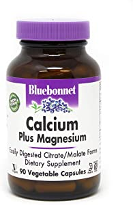 BlueBonnet Calcium Citrate Plus Magnesium Vegetarian Capsules, 90 Count