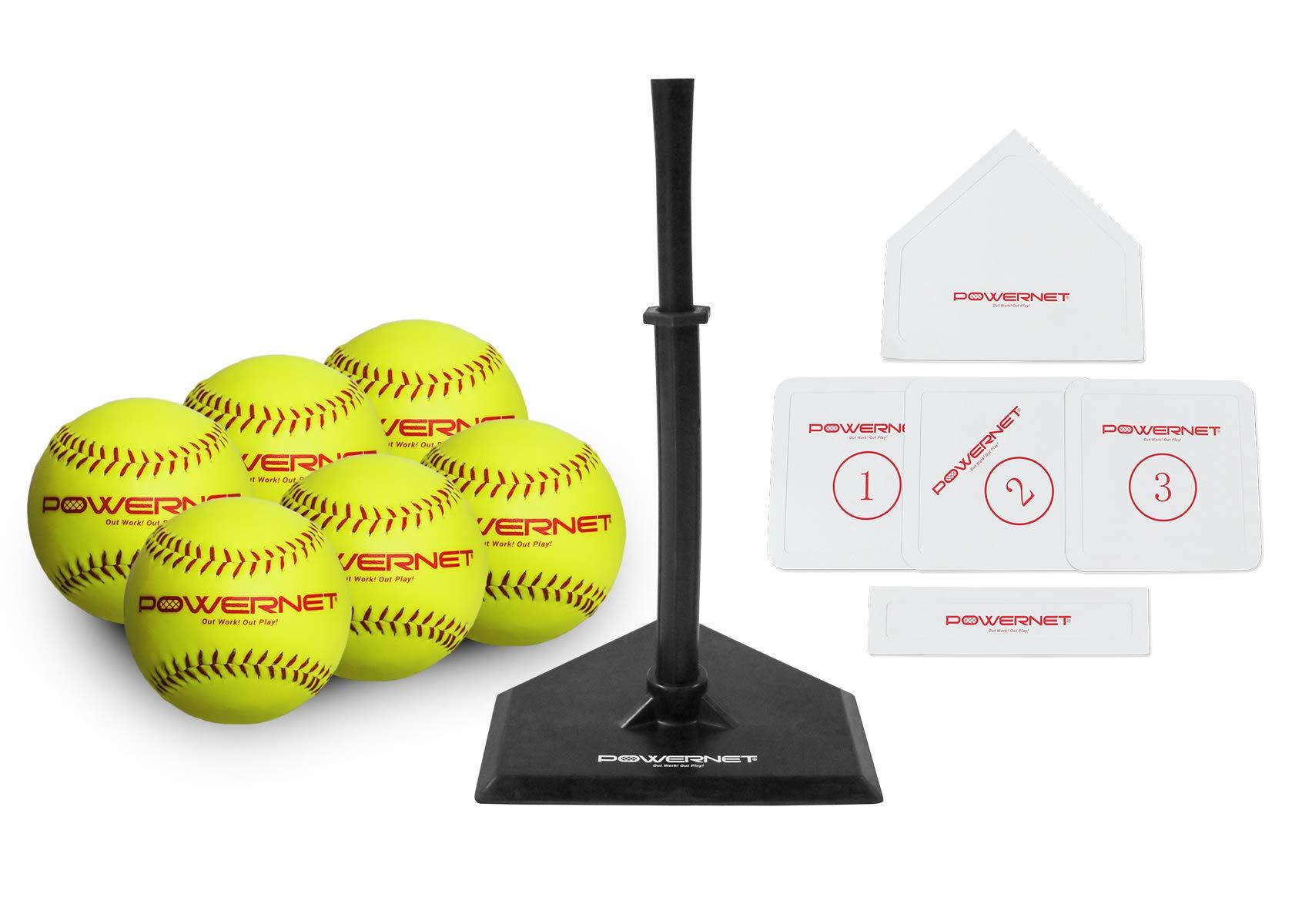 PowerNet Softball T-Ball Coaching Bundle | 8 Piece Tee-Ball Set Includes Soft Core Softballs, Adjustable Tee, Throw Down Bases to Coach