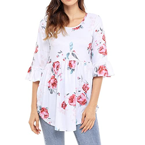 Hzjundasi Más el tamaño de las Mujer T-shirt 3/4 manga cuello Redondo irregular dobladillo de impres...