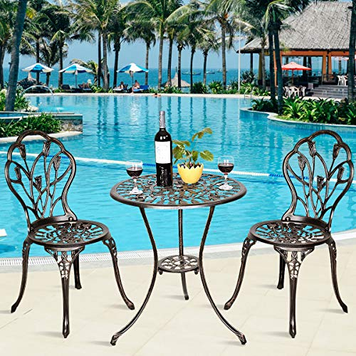 Giantex 3 Piece Bistro Set Cast Tulip Design Antique Outdoor Patio Furniture Weather Resistant Garden Round Table and Chairs w Umbrella Hole Tulip Design