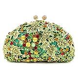 Flada Women and Girl's Evening Clutch Bag Grape Vine Handbag for Wedding Party Prom Green