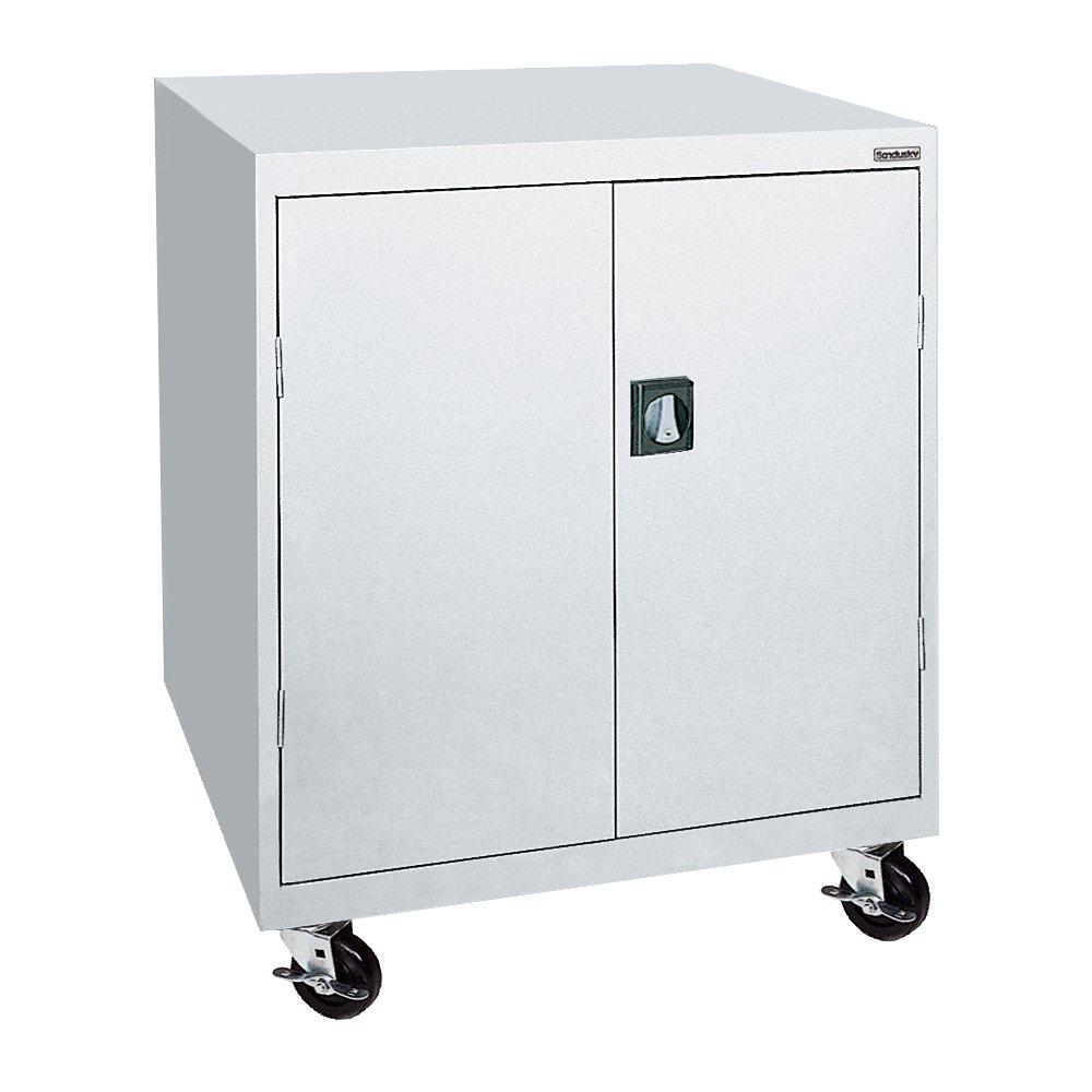 Sandusky Lee TA2R462442-05 Steel Transport Mobile Storage Cabinet, 2 Adjustable Shelves, 48'' Height x 46'' Width x 24'' Depth, Dove Gray
