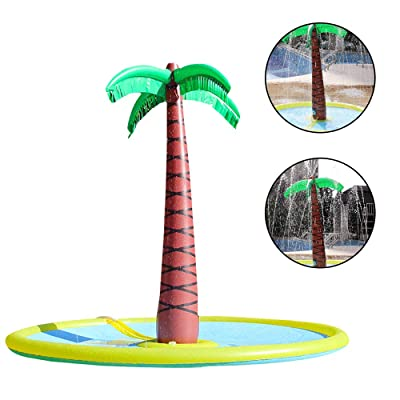 ADSRO Inflatable Palm Tree Sprinkler Toy, Inflatable Splash Sprinkler Pad Outdoor Summer Ball Toy for Swimming Party Beach Pool Play: Toys & Games