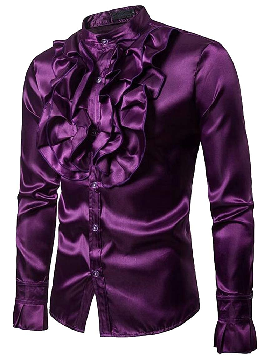 HTOOHTOOH Mens Disco Night Stag Party Metallic Ruffle Shirt Dance Dress Shirt