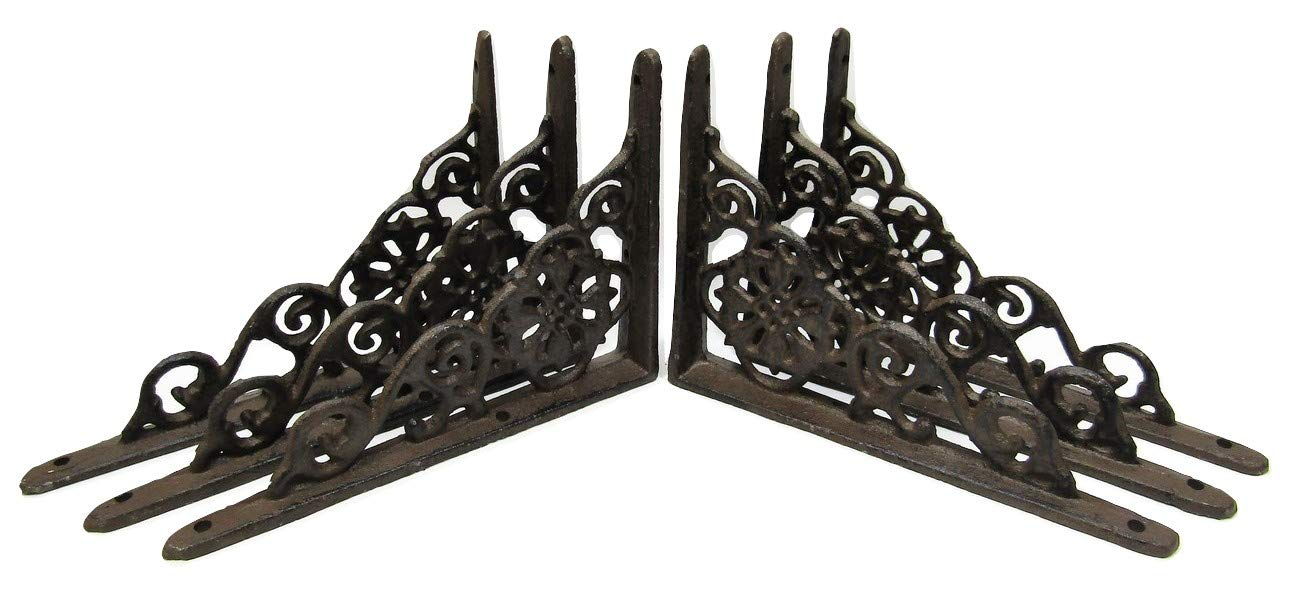 Lot/Set of 6 Antique-Style Cast Iron SMALL 6 1/4'' x 4 1/2'' SHELF BRACKETS Hangers Braces