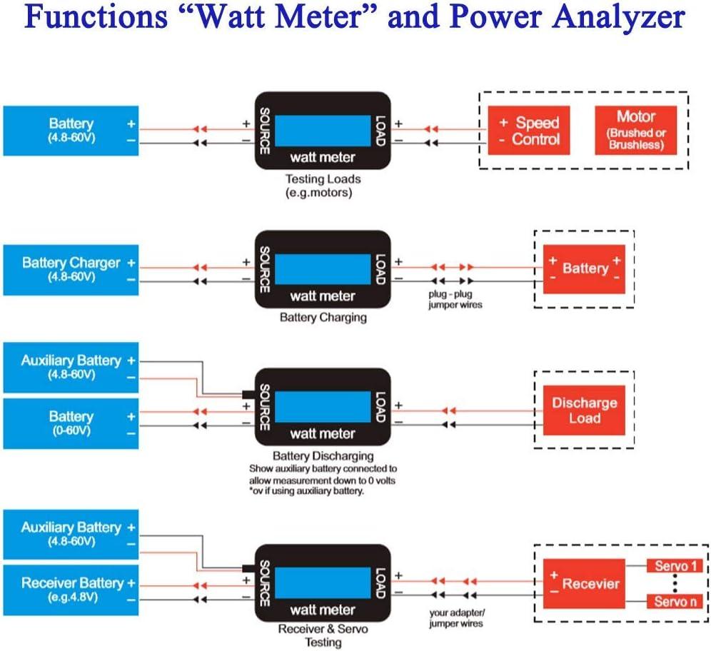 V Ah WH Carga ARCELI 150A Watt Meter Analizador de Potencia RC de Alta precisi/ón con Pantalla LCD Digital para Voltaje W Medici/ón Corriente Potencia y energ/ía A