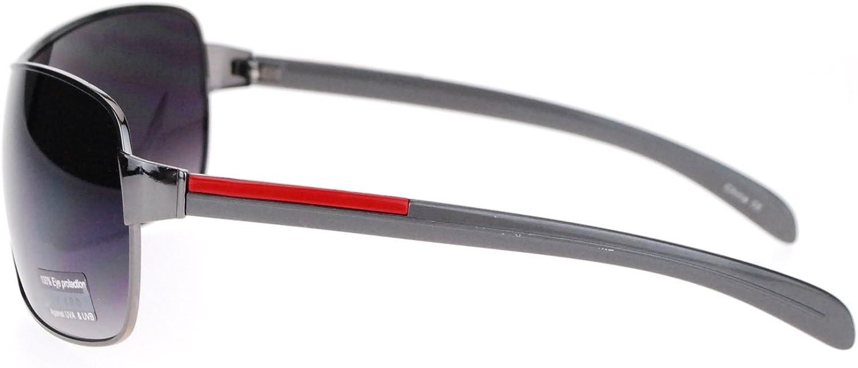 Mens Italian Designer Fashion Rimless Shield Sport Pilot Sunglasses