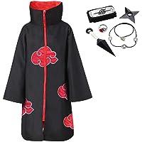 Akatsuki Cloak Unisex Ninja Itachi Long Robe Capes Halloween Cosplay Costume Uniform Headband Plastic Prop