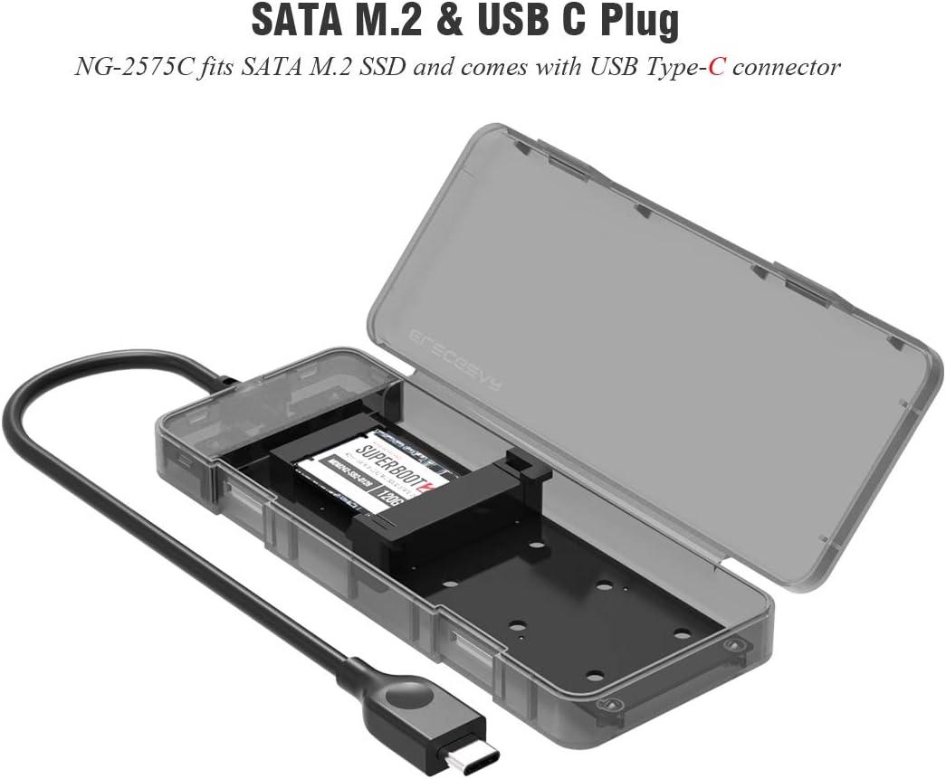 SATA M.2 SSD a USB 3.1 Gen2 Caja de Carcasa con USB Tipo C Cable, NG-2575C NGFF M2 SSD Adapter Case para Disco Duro, SATA Estuche Caddy Adaptador Convertidor para 2230/2242/2260/2280, Tool-Free: