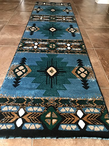 2'x7'7' Runner Area Rug (Southwest Native American Runner Area Rug Blue Green Design C318 (2 Feet X 7 Feet 1 Inch ))