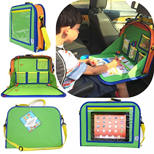 - Kids Backseat Organizer Holds Crayons Markers an iPad Kindle or Other Tablet. Great for Road Trips and Travel Used as a Lap Tray Writing Surface or as Access to Electronics for Kids Age 3+