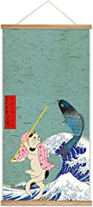 "NWT Hanging Poster NO Magnetic Wooden Framed, Japanese Style Culture Art Home Wall Canvas Prints Decoration Ready to Hang - 18""x36"""