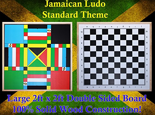 Jamaican Ludo (Standard Theme) + Checkers | 2ft x 2ft Double Sided Game Board + Game Pieces & Dice | Family Game Night by Benjamin Products