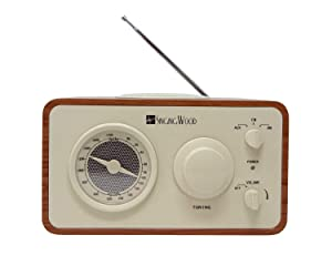SINGING WOOD Retro Vintage Wooden AM/FM Radio (Cherry Wood)