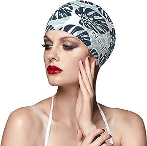 BALNEAIRE Silicone Swim Cap for Women, Waterproof Long Hair Swimming Caps Leaf Printed