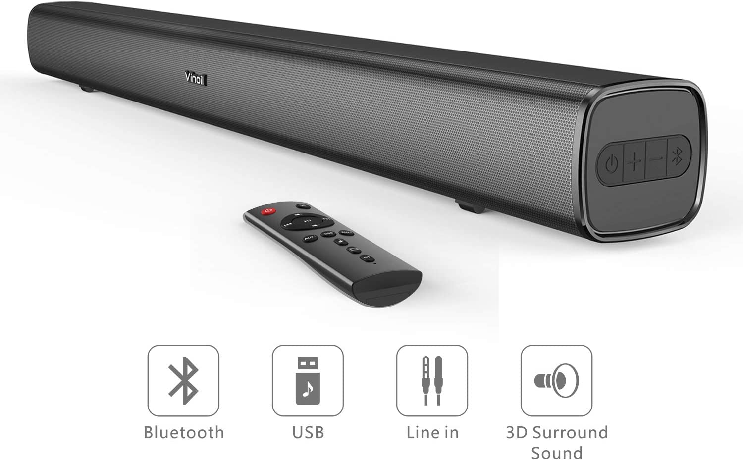 Soundbar, Wired & Wireless Bluetooth Home Theater Stereo Speaker, 30-Inch Audio Soundbar for TV, AUX/RCA/USB Connection, Wall Mountable, Remote Control
