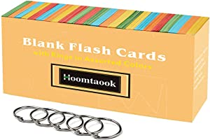 Hoomtaook Blank Flash Cards with 5 Rings in Assorted Colors, 1000 Sheets Cards Single Hole Punched Memo Cube for Home, Office, School 3.07 x 2.1 inches